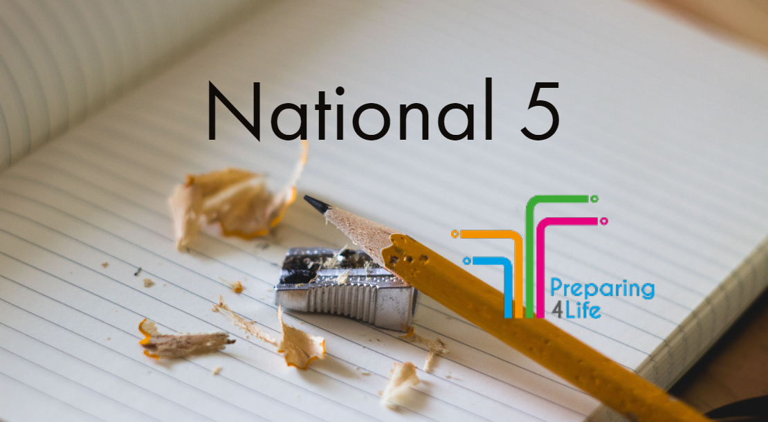 National 5 on paper with pencil