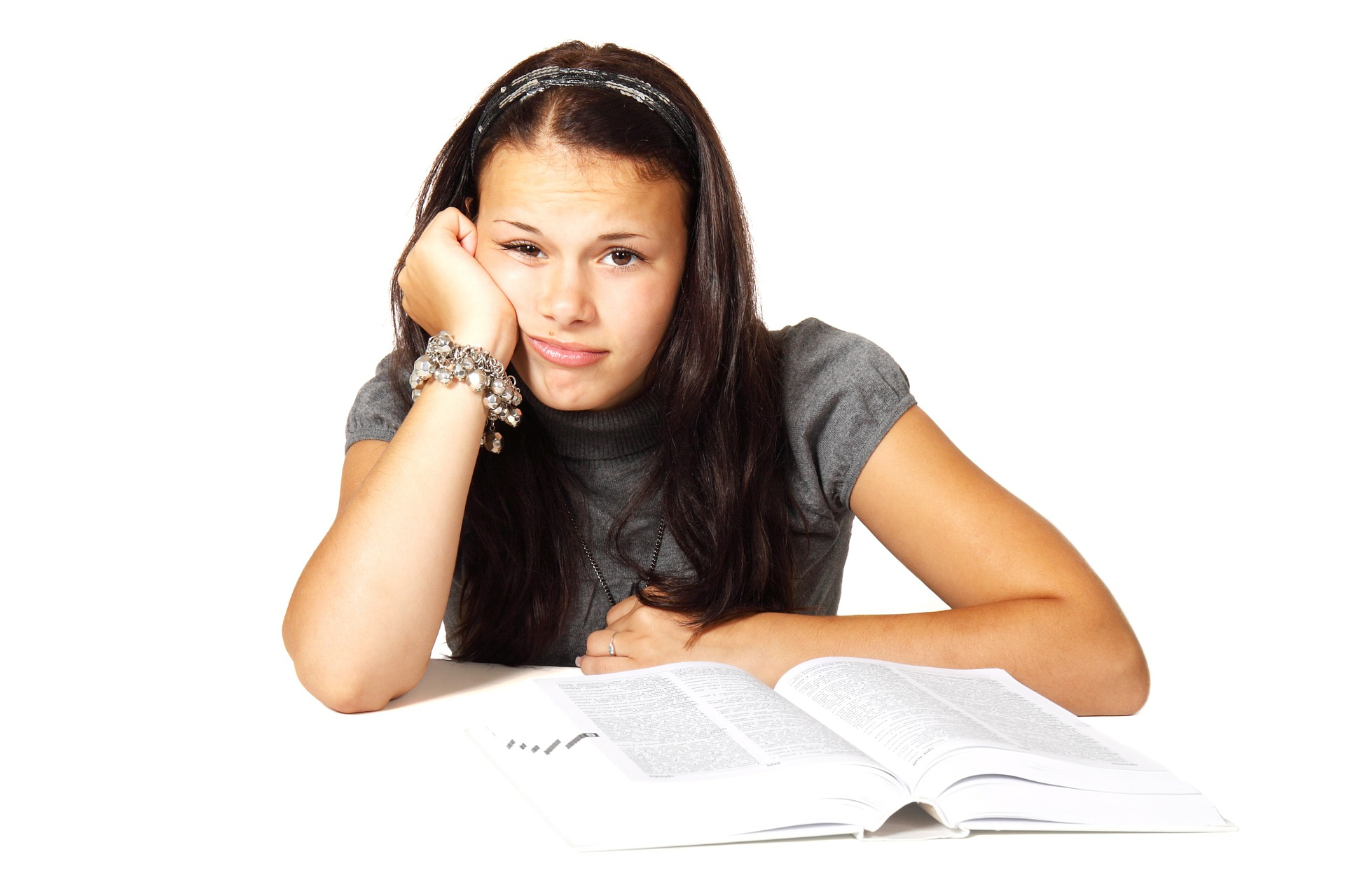 Bored Girl doing revision